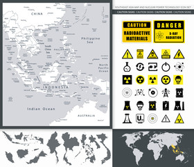 Southeast Asia Map And Nuclear Power Technology Icon Set