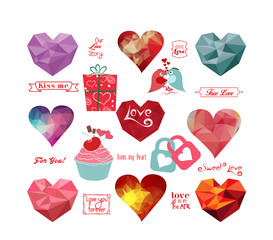 Valentine's day labels, icons geometrical elements collection
