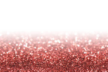 Red sparkle. Glitter background. Holiday blurred background.