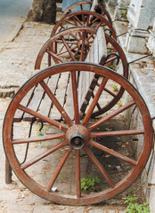 Wooden seat in form of classic wheel in Turkey