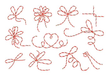 Wall Mural - Gift twine bows vector set