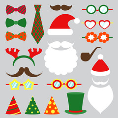 Christmas photo booth vector set