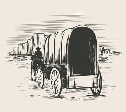 Old wagon in wild west prairies