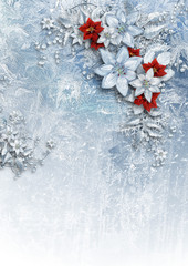 Christmas card with gorgeous winter flowers