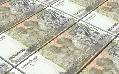 Cambodia riels bills stacks background. Computer generated 3D photo rendering.
