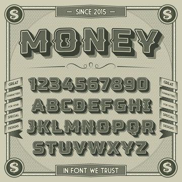 Vintage Money Font with shadow. Retro 3D Alphabet with decorative elements
