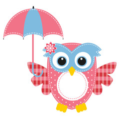 owl funny girl and umbrella