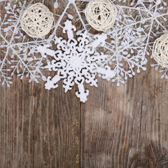 Christmas decorations on an old wooden table