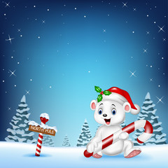 Cartoon happy polar bear holding candy
