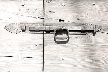 europe old in  italy  antique close brown door and rusty lock  c