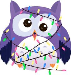 Bewildered cute vector purple owl tangled in christmas garland