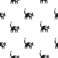 Vector seamless pattern with cartoon black cats on  white background.