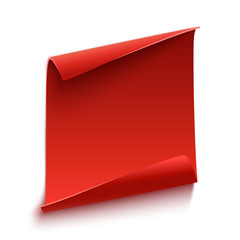 Red, curved, paper scroll. Vector illustration.