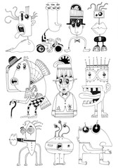 simple black on white drawing - funny silly cartoon figures monsters
