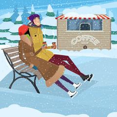 Coffee break on ice skating rink