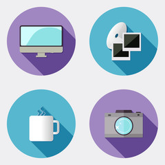 Flat design creativity icons with long shadow 2