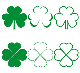 Clover leaf icons different on white background