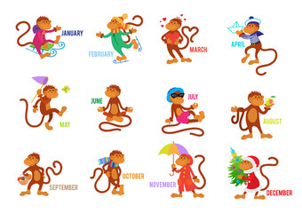 Funny monkeys set isolated on white background