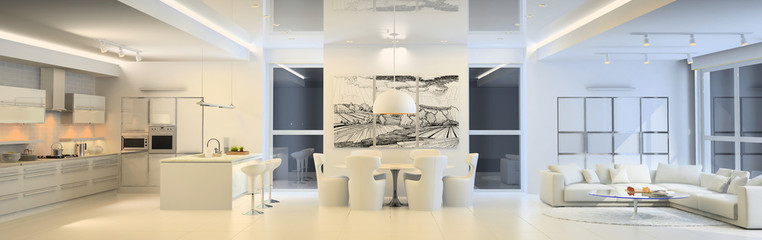 White modern house interior
