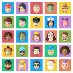 Funny colorful vector characters set. Flat style people faces ic