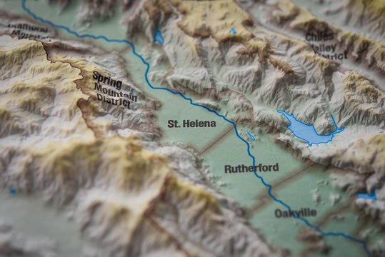 Close up of St. Helena wine district on 3D map