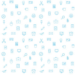 Office supplies seamless vector pattern. Thin lines office icons