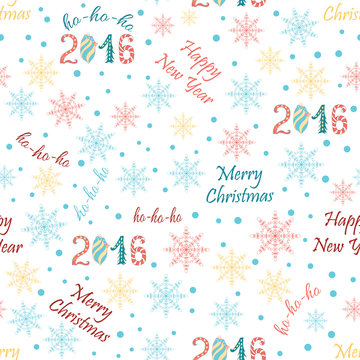Christmas Seamless Vector Pattern with snowflakes and letternig. Great for wrapping paper and wallpapers.