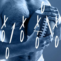 Composite image of shirtless american football player with ball