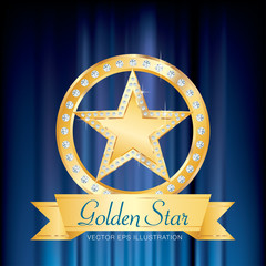 gold star ring blue
