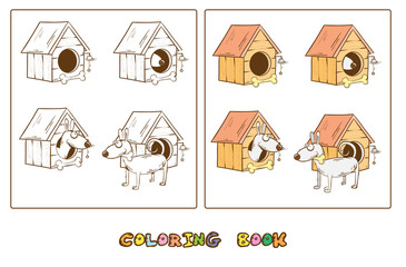 Coloring book with cartoon dog,  doghouse and  bone. Vector image.