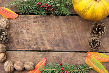 Pumpkin on wooden background - Halloween and Thanksgiving concept border - frame - decoration - copy space