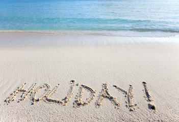 "On sand at ocean edge it is written ""holiday"""