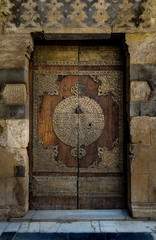 One of the doors surrounding the main yard of Al-Sultan Al-Zahir Barquq. Al-Moez Street, Old Cairo, Egypt