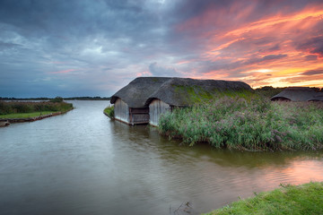 Wall Mural - Sunset over Hickling Broad in Norfolk