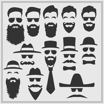 Vector constructor with different glasses, beards, mustaches, ties and bow ties.