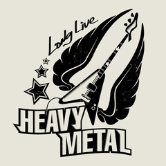 Retro Heavy metal poster with wings gitar