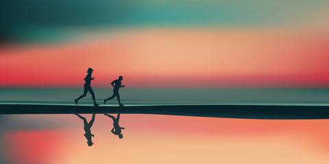 Paysage plage-Jogging