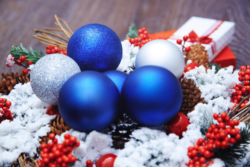 Christmas wreath and toys