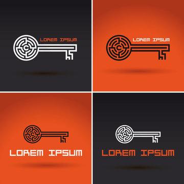 key shaped labyrinth, maze logo design