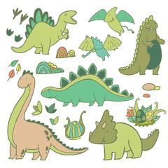Adorable dinosaurs vector set