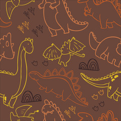 Adorable dinosaurs. Seamless pattern for wallpapers, pattern fills, web page backgrounds,surface textures, scrapbook pages