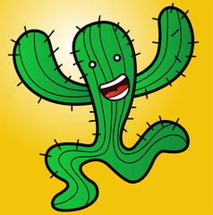 Illustration of a funny monster cactus running