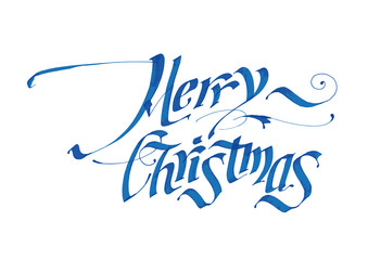 "Textscript ""Marry Christmas"". Holiday greetings"
