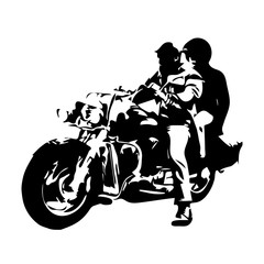 Motorcycle chopper, couple on motorbike, vector drawing