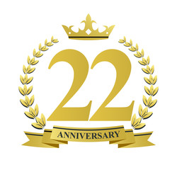 22 anniversary with golden wreath, ribbon and crown