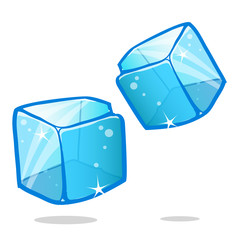 Ice cubes and melted ice cube vector set on white background