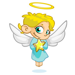 Vector illustration of Christmas angel with nimbus and wings