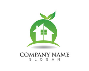 Green garden in home logo