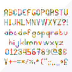 Super set of letters and numbers. Abstract symbols of simple geometric shapes. Transparent EPS10