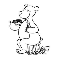 Bear drinking tea